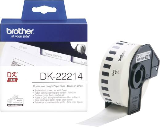 Brother Etiketten (rol) 12 mm x 30.48 m Papier Wit 1 rollen Permanent DK22214 Universele etiketten