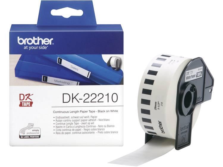 Brother Etiketten (rol) 29 mm x 30.48 m Papier Wit 1 rollen Permanent DK22210 DK-22210 Universele etiketten