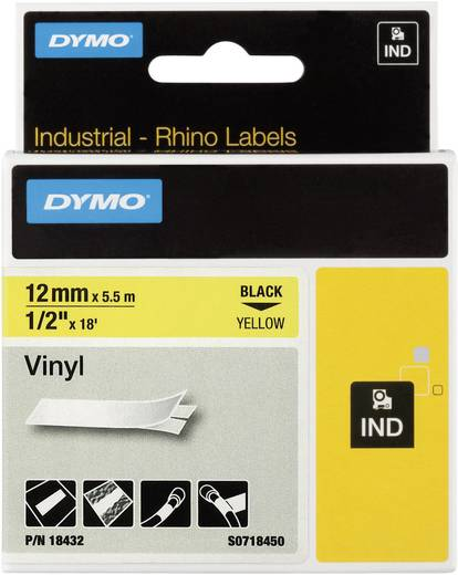 DYMO 18432 Labeltape Vinyl Tapekleur: Geel Tekstkleur: Zwart 12 mm 5.5 m