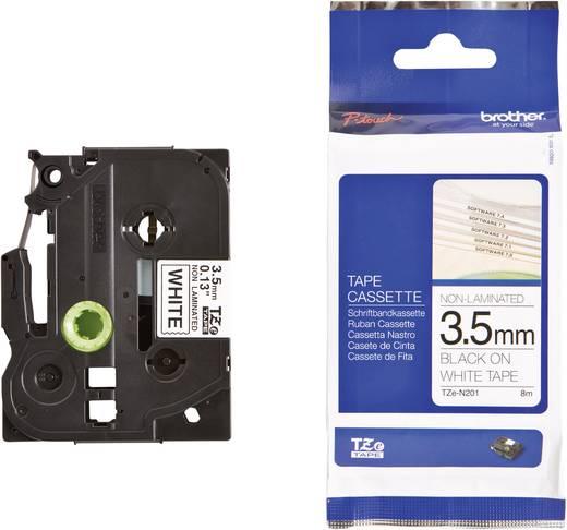 Brother TZe-N201 Labeltape ongelamineerd Tapekleur: Wit Tekstkleur:Zwart 3.5 mm 8 m