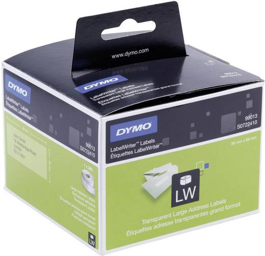 DYMO Etiketten (rol) 89 x 36 mm Folie Transparant 260 stuks Permanent S0722410 Adresetiketten