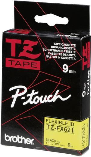 Brother TZe-FX621 Labeltape flexibel Tapekleur: Geel Tekstkleur:Zwart 9 mm 8 m