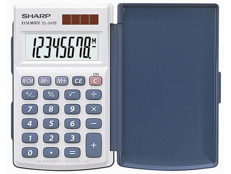 Zakrekenmachine Sharp EL-243 S Wit, Blauw Aantal displayposities: 8 werkt op zonne-energie, werkt op batterijen