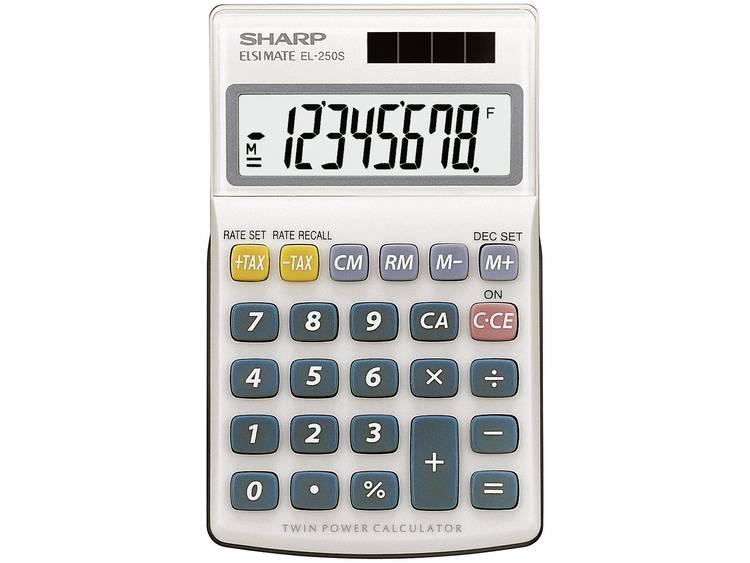 Zakrekenmachine Sharp EL-250 S Wit, Blauw Aantal displayposities: 8 werkt op zonne-energie, werkt op batterijen