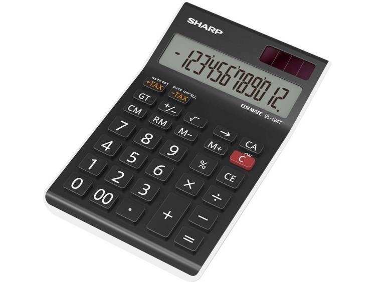 Bureaurekenmachine Sharp EL 124 TWH Zwart Aantal displayposities 12 werkt op zo