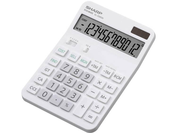 Bureaurekenmachine Sharp EL-338 GN Wit Aantal displayposities: 12 werkt op zonne-energie, werkt op batterijen