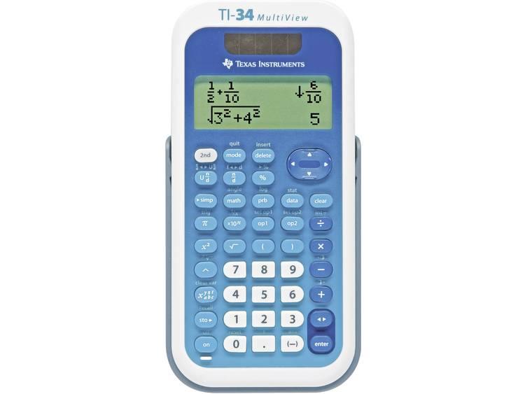 Schoolrekenmachine Texas Instruments TI-34 MULTIVIEW Wit, Blauw Aantal displayposities: 16 werkt op zonne-energie, werkt op batterijen