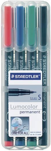 Staedtler 313 WP4 Permanent marker Lumocolor Rood, Blauw, Groen, Zwart Ronde vorm 0.4 mm (max) 4 stuks