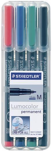Staedtler 317 WP4 Permanent marker Lumocolor Rood, Blauw, Groen, Zwart Ronde vorm 1 mm (max) 1 stuks