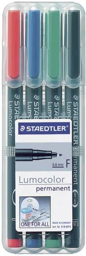 Staedtler 318 WP4 Permanent marker Lumocolor Rood, Blauw, Groen, Zwart Ronde vorm 0.6 mm (max) 4 stuks