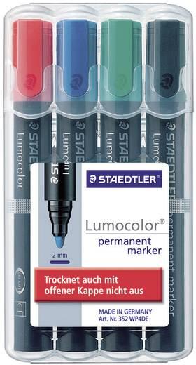 Staedtler 352 WP4 Permanent marker Lumocolor Blauw, Rood, Zwart, Groen Ronde vorm 2 mm (max) 4 stuks