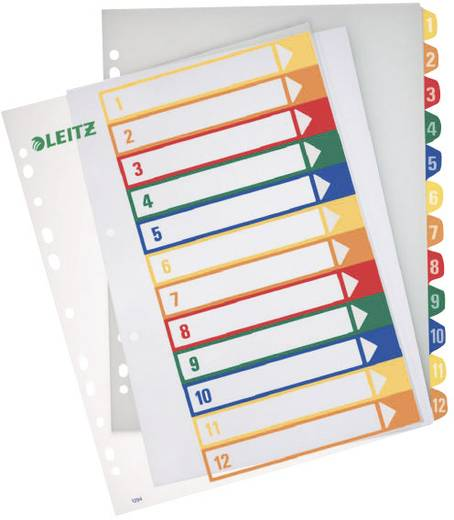 Register Leitz 12940000 DIN A4 breed Numeriek Geel, Oranje, Rood, Groen, Blauw 1 katernen