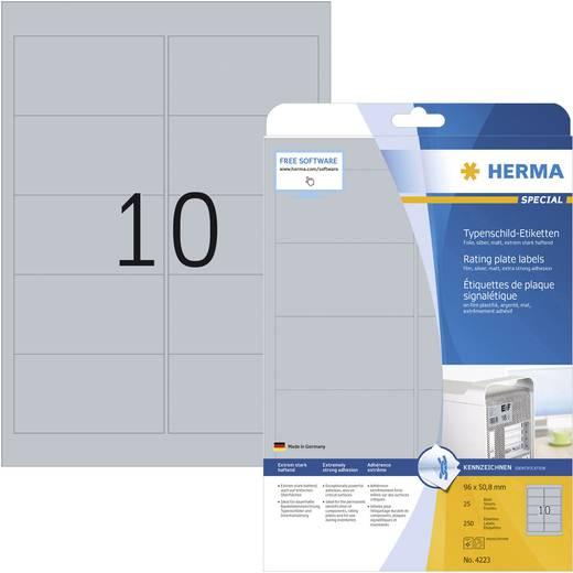 Herma Typenschild-Etiketten 4223 ( 96 x 50.8 mm ),Zilver, 250 stuks, Perma