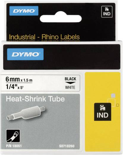 DYMO 18055 Labeltape krimpkous Polyolefine Tapekleur: Wit Tekstkleur:Zwart 12 mm 1.5 m