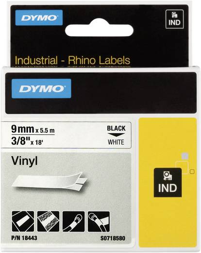 DYMO 18443 Labeltape Vinyl Tapekleur: Wit Tekstkleur:Zwart 9 mm 5.5 m
