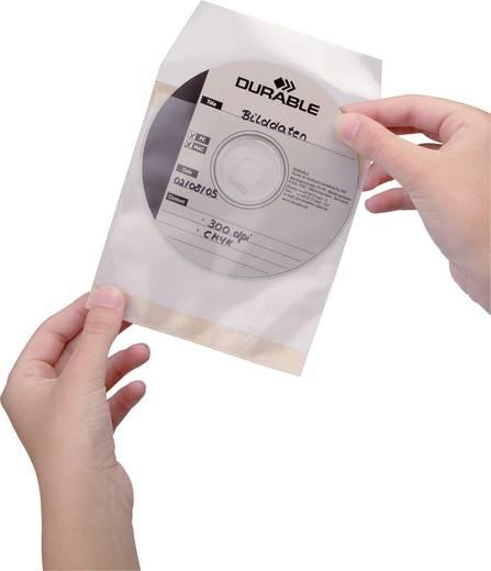 Durable CD/DVD-hoezen zelfklevend, set van 10 stuks Transparant 1 CD/DVD