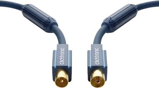 clicktronic Antenne Aansluitkabel [1x Antennestekker 75 Ω - 1x Antennebus 75 Ω] 7.50 m 95 dB Vergulde steekcontacten, Met Ferrietkern Blauw
