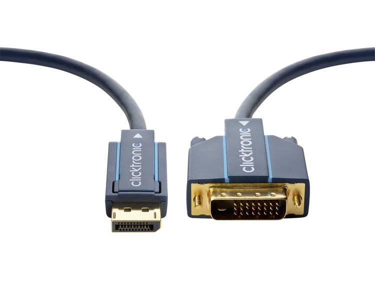 DisplayPort / DVI Kabel clicktronic [1x DisplayPort stekker - 1x DVI-stekker 24+1-polig] 20 m Blauw