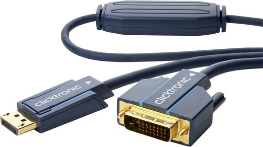DisplayPort / DVI Aansluitkabel clicktronic [1x DisplayPort stekker - 1x DVI-stekker 24+1-polig] 20 m Blauw