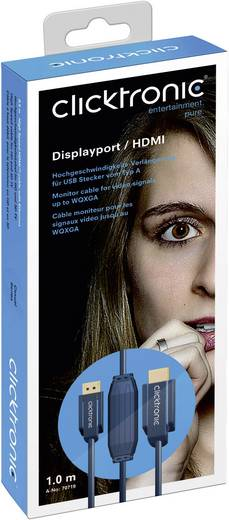 clicktronic DisplayPort / HDMI Aansluitkabel [1x DisplayPort stekker - 1x HDMI-stekker] 20 m Blauw