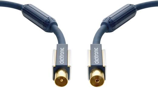 clicktronic Antenne Aansluitkabel [1x Antennestekker 75 Ω - 1x Antennebus 75 Ω] 20 m 120 dB Vergulde steekcontacten, Met Ferrietkern Blauw