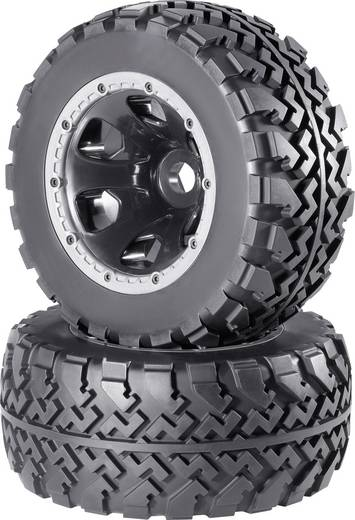 Reely 1:5 Monstertruck Complete wielen Block-Profiel 6-spaaks Zwart 1 paar