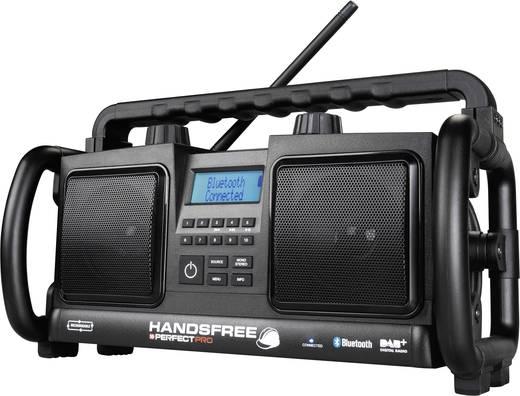 DAB+ Bouwradio PerfectPro Handsfree bouwradio AUX, Bluetooth, DAB+, FM Accu laadfunctie, Handsfreefunctie, Stofdicht, Spatwaterbestendig, Herlaadbaar Zwart