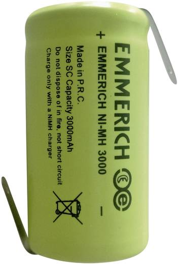 Sub-C Speciale oplaadbare batterij 1.2 V NiMH 3000 mAh Emmerich Sub-C ZLF 1 stuks