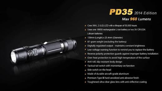 LED Zaklamp Fenix PD35 960 lm 87 g Zwart