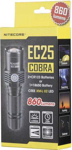 LED Zaklamp NiteCore EC25 Cobra warmwit 860 lm 122 g Zwart