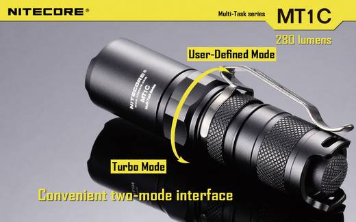 LED Mini zaklamp NiteCore Multi Task MT1C 280 lm 42 g Zwart