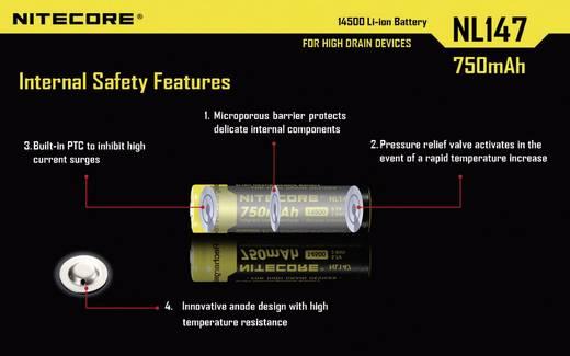 NiteCore NL147 Speciale oplaadbare batterij 14500 Li-ion 3.7 V 750 mAh