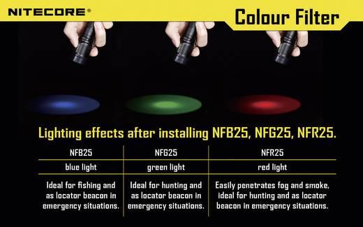 NiteCore roodfilter 25 mm NFR25 voor EC1, EC2, EA1, EA2, MT2C, P12, SRT3, SRT5 en zaklampen met een Ø 25 mm