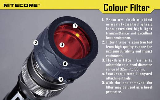 NiteCore-blauwfilter 34 mm NFG34 voor MT25, MT26, SRT6 en zaklampen met een Ø 33 - 36 mm