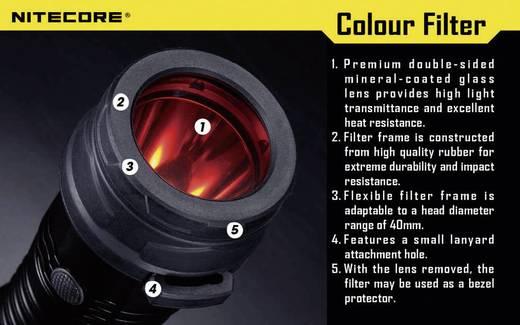 NiteCore roodfilter 40 mm NFR40 voor MH25, EA4, P25, P16, P15, SRT7, CR6, CG6, CB6, CI6, CU6 en zaklampen met een Ø 39 - 42 mm