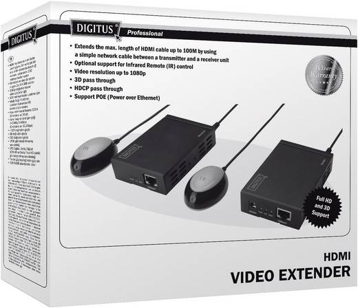 Digitus HDMI video extender(uitbreiding) via Cat5e/6 met PoE 100 m
