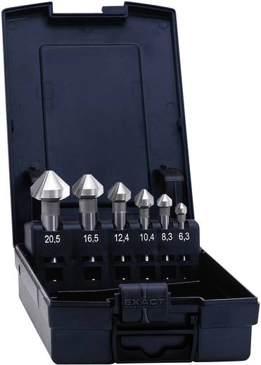 Kegelverzinkboor set 6.3 mm, 8.3 mm, 10.4 mm, 12.4 mm, 16.5 mm, 20.5 mm HSS TiAIN Exact 1605527 Cilinderschacht 1 set