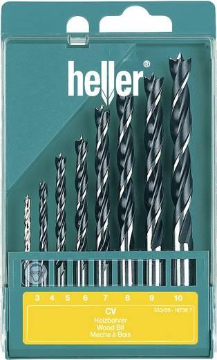 Hout-spiraalboor set 8-delig 3 mm, 4 mm, 5 mm, 6 mm, 7 mm, 8 mm, 9 mm, 10 mm Heller 205241 Cilinderschacht 1 set