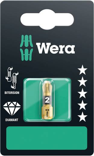 Wera 855/1 BDC SB SiS Kruis-bit PZ 1 Gereedschapsstaal Diamant gecoat D 6.3 1 stuks