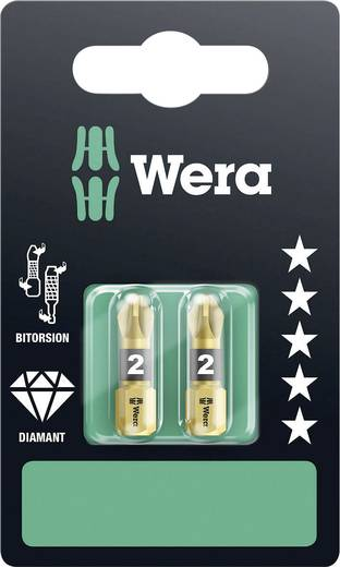 Wera 855/1 BDC SB SiS Kruis-bit PZ 2 Gereedschapsstaal Diamant gecoat D 6.3 2 stuks
