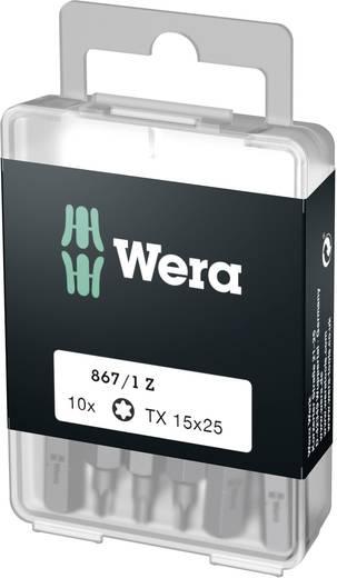 Torx-bit T 15 Wera 867/1 Z DIY SiS Gereedschapsstaal gelegeerd, taai D 6.3 10 stuks