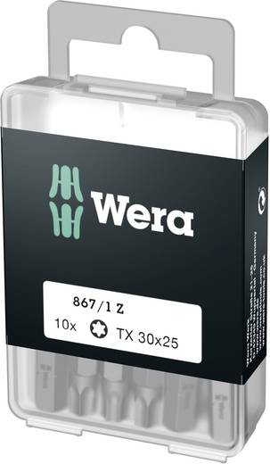 Torx-bit T 30 Wera 867/1 Z DIY SiS Gereedschapsstaal gelegeerd, taai D 6.3 10 stuks