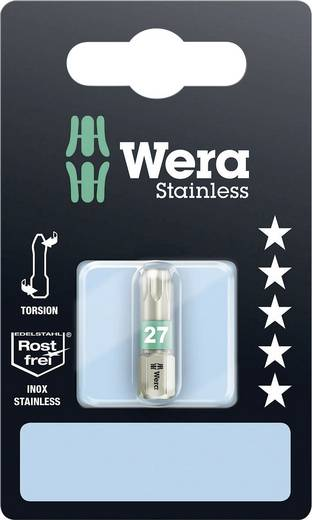 Torx-bit T 27 Wera 3867/1 TS TX 27 x 25 mm SB RVS D 6.3 1 stuks