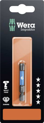 Inbus-bit 6 mm Wera 840/4 IMP DC Hex-Plus SW 6,0 x 50 mm SB Gereedschapsstaal gelegeerd, Diamant gecoat F 6.3 1 stuks
