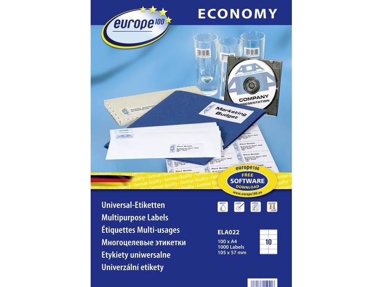 Europe 100 ELA022 Etiketten (A4) 105 x 57 mm Papier Wit 1000 stuks Permanent Universele etiketten Inkt, Laser, Kopie