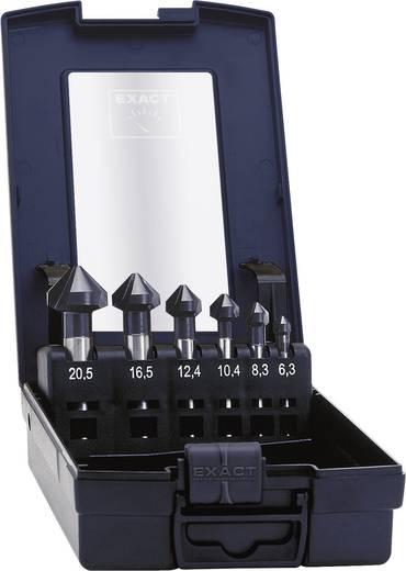 Kegelverzinkboor set 6-delig 6.3 mm, 8.3 mm, 10.4 mm, 12.4 mm, 16.5 mm, 20.5 mm HSS TiAIN Exact 51157 Cilinderschacht