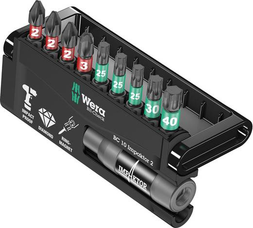 Wera Bitset 10-delig 8751/67-9/IDC Impaktor Bit-Check 05057682001 Kruiskop Phillips, Torx Impactor technologie