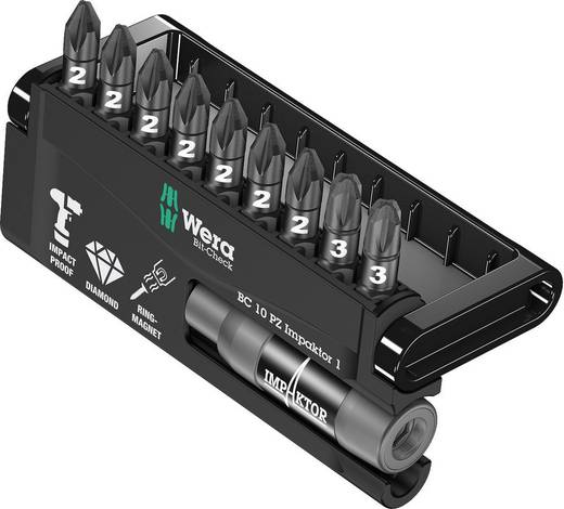 Bitset 10-delig Wera 8755-9 IDC Impaktor 05057684001 Kruiskop Pozidriv Impactor technologie