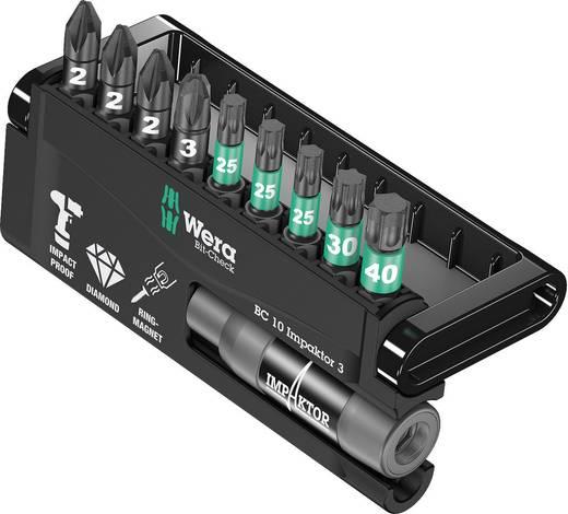 Bitset 10-delig Wera 8755/67-9/IDC Impaktor Bit-Check 05057683001 Kruiskop Pozidriv, Torx Impactor technologie