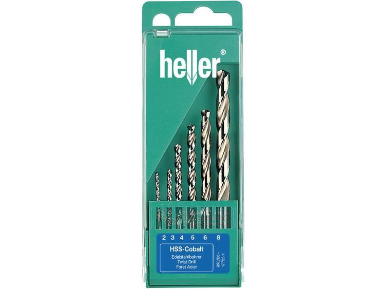 Heller HSS Metaal-spiraalboorset 6-delig 2 mm, 3 mm, 4 mm, 5 mm, 6 mm, 8 mm kobalt DIN 338 Cilinders